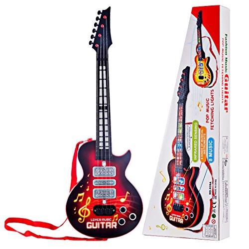 e-Gitarre, Foxom 4 Saiten e-Gitarre Kinder Musikinstrument Pädagogisches Spielzeug Gitarre Geschenk für Kinder ab 3 Jahre (Rot)
