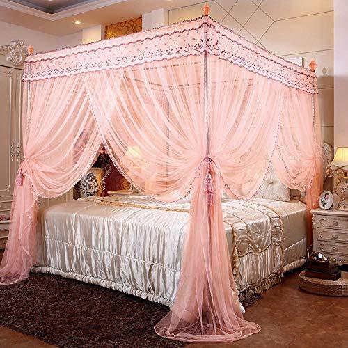 MoustiquairesPorte à trois portes palier carré haut princesse palais moustiquaire épaissie support en acier inoxydable cryptage moustiquaire Nouveau jade 2 * 2,2 m