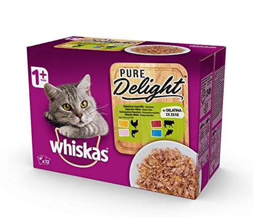 Whiskas Pure Delight in Gelatina Selezione Assortita, 1+ Anni, Cibo per Gatto, Confezione da 4 x 12 x 85g, (l'imballaggio può variare)
