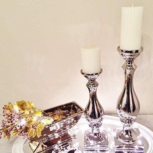 ONLYCLIC 2 Misure Candelabro Candeliere Candela Decorazione In Ceramica decorazione Argento Bello - piccolo