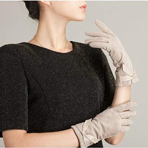 Dames suède handschoenen warm gevoerd thermo dames mode bruid handschoenen met lus voor het rijden fietsen handschoenen handschoenen, koud