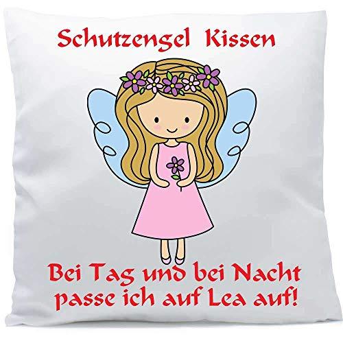 Kissen mit Namen Wunschtext Schutzengel Mädchen blonde Haare 40x40 cm inkl. Füllung Kuschelkissen, Kissen Farbe:Vorderseite weiß/RS beere