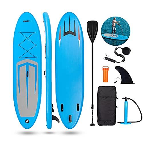 Bluniza Aufblasbares Stand Up Paddel Board - 11FT SUP Board Set   335cmx82cmx15cm   Surfboard Wassersport   inkl. Tasche/Paddel/Finne/Luftpumpe/Repair Kit/Anfänger und erfahrene Leute Entwickelt