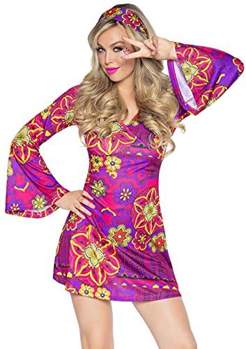 Leg Avenue 2 Piece Hippy Girl Set-Flower Bell Sleeved Dress with Matching Headband for Women, Multi, Small/Medium