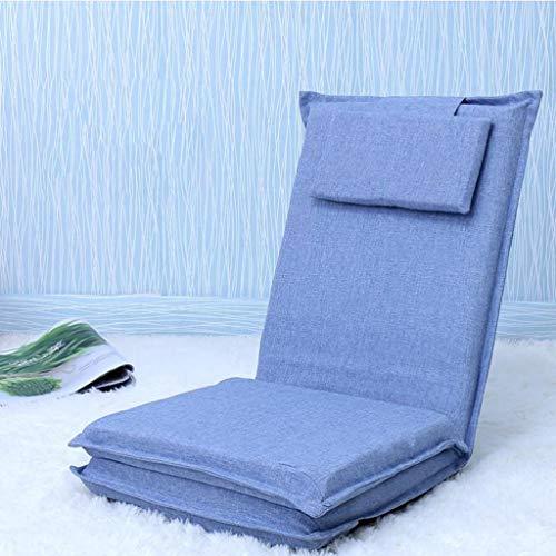 JYQ-SZRQ Floor Gaming Chair Floor Recliner,Floor Seat with 5 Adjustable Lengthen Backrest,Folding Bed Backrest Chair,for Gaming, Meditation,Reading,Can Sleep, Lie Down, Sit (Color : Lake Blue)