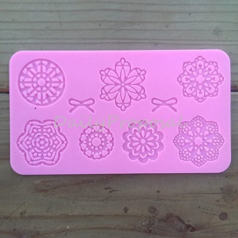 Flower Star Doily Silicone Embossing Mold Ribbon Bow Gum Paste Fondant Cake Lace Decorating Sugar Craft Mat