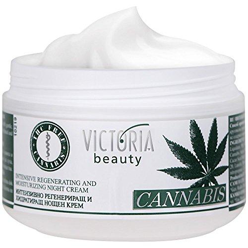 Victoria Beauty - Hanfcreme, Anti Aging Augencreme gegen Falten und dunkle Augenringe, Cannabis Nachtcreme mit Hanföl (1 x 50ml)