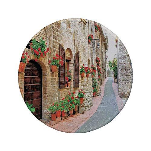 Rutschfreies Gummi-Rundmauspad toskanisch Veranda mit bunten Blumen in einer alten Straße in der Stadt in Italien am sonnigen Tag Braunrot und Hellbraun 7,87 'x 7,87' x 3 mm