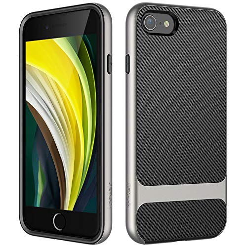 JETech Funda Compatible iPhone SE 2ª Generación, iPhone 8 iPhone 7, Carcasa con Fibra de Carbono, Anti-Choques, Gris