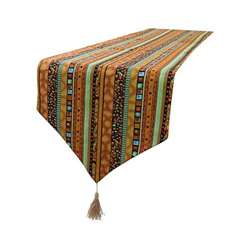Chemin de table coton Lin Doré du Sud-est Style Rayures chemin de table Chiffon pour Home Décor, 32 x 160 cm, Tissu, 32x200cm