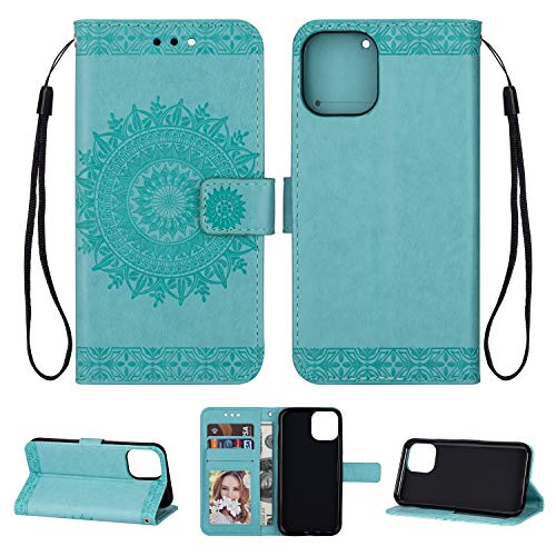 Yobby Leather Wallet Case for iPhone 11 Pro 5.8 inch,Mint Green Case Embossed Mandala Flower Pattern Slim Flip Cover [Magnetic Closure] with Card Holder/Wrist Strap/Stand