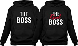 The Boss & The Real Boss Matching Couple Hoodie Set His & Hers Hoodies