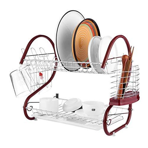 Home Cocina Estante para Platos de Acero Inoxidable de 2 Niveles Escurridor de Platos con Ahorro de Espacio Estante de Secado (Rojo)