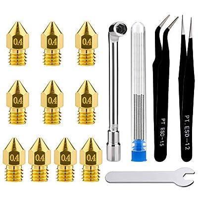 LUTER 3D Printer Nozzle Cleaning Kit, 10PCS 0.4mm 3D Printer Nozzles Extruder Nozzles for MK8 + 5PCS Stainless Steel Nozzle Cleaning Needles + 2PCS Tweezers + 2PCS Wrenches