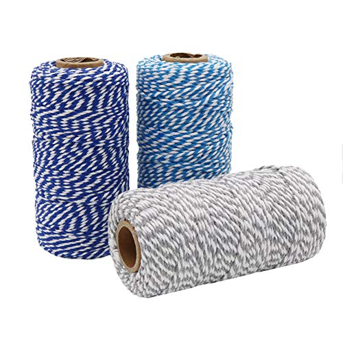 Tenn Well Cotton Bakers Twine, 3 Rolls 984 Feet Cotton String Rope for Baking, Gift Wrapping, Arts and Crafts (328Feet / Roll)