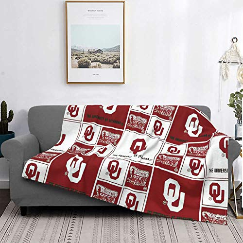 Oklahoma Sooners Blanket 3D Printed Blanket Flannel Bed Blanket Soft Throw Blanket Warm Cozy Lightweight Air Conditioner Quilt for Couch Bed Sofa Travel 60