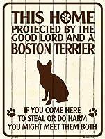 Smart Blonde ビンテージ風 英語版 おしゃれな 猛犬注意の看板 プレート 犬がいます 屋外OK 錆びないアルミ製 (レギュラー (23x30.5cm), ボストンテリア)
