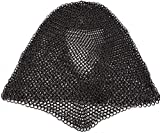 Mythrojan Chainmail Coif Medieval Knight Renaissance Armor Chain Mail Hood Viking LARP 16 Gauge Black