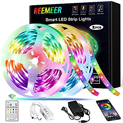 LED Strip Lights,Reemeer RGB LED Strip Lights Kit 32.8ft/10M SMD5050 300 LEDs Color Changing LED Lights Strip with Remote APP Control Sync to Music Apply LED Lights for Bedroom Kitchen Party
