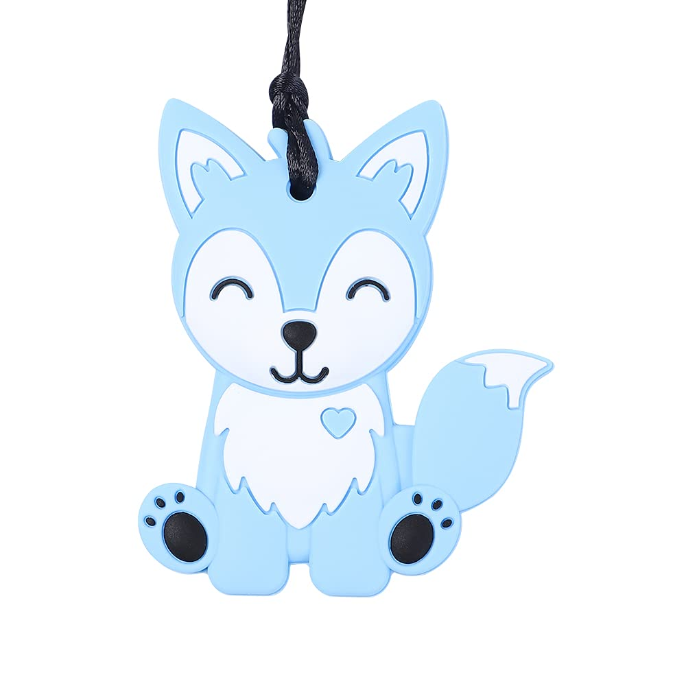 Sensory Chew Necklace for Kids-Fox Chewable Necklace for Boys and Girls-Silicone Chew Pendant Jewelry for Teething,Autism, Biting,ADHD, SPD, or Special Needs (Blue)