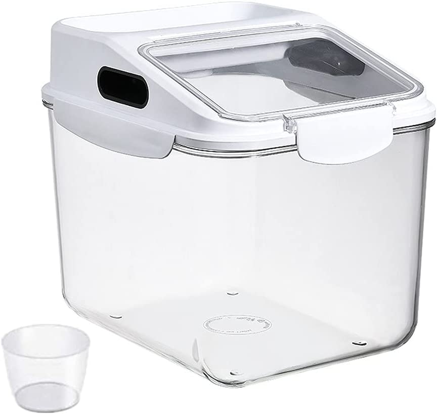 WHAHA Clear 22Lbs Airtight Rice Storage Container Flip-Top Grain Container Bin with Seal Locking Lid Food Dispenser Flour Dry Food Used for Pantry Kitchen (White)