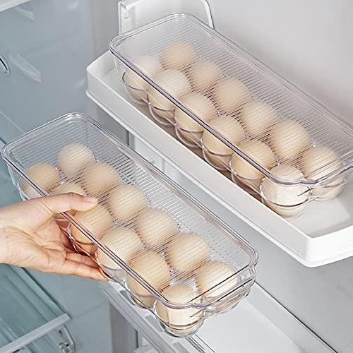 Huevos, soporte para frigorífico con mango y tapa, bandeja para 12 huevos, caja de almacenamiento de huevos transparente