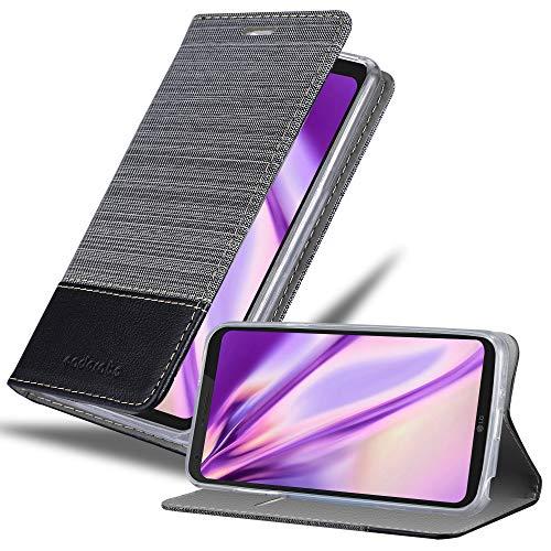 Cadorabo Funda Libro para LG Q6 en Gris Negro - Cubierta Proteccíon con Cierre Magnético, Tarjetero y Función de Suporte - Etui Case Cover Carcasa