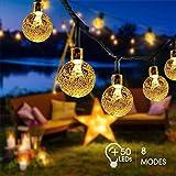 Guirlande Lumineuse Solaire, FOCHEA 7M IP65 Guirlande Lumineuse Exterieur avec 8 Modes et 50 Boules Cristal LED pour Jardin, Patio, Clôture, Mariage, Terrasse, Noël (Blanc Chaud)
