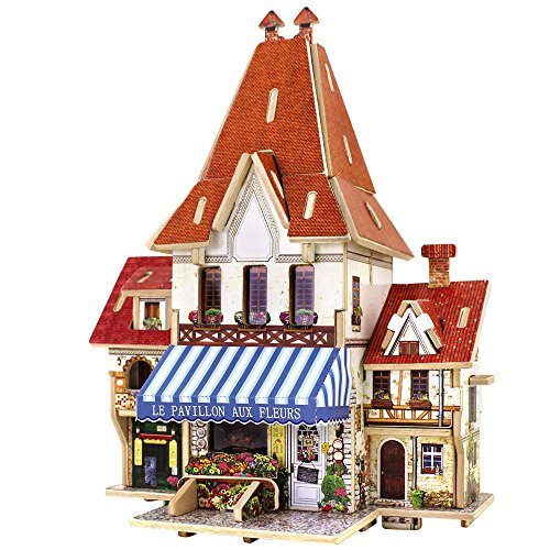 ZHXYY 3D Puzzle Madera Conjunto DIY Jigsaw Miniatura casa Kit Modelo Creativo Artesanal artesanía decoración Juguetes educativos Regalos para niños Adolescentes (floristería Francesa)
