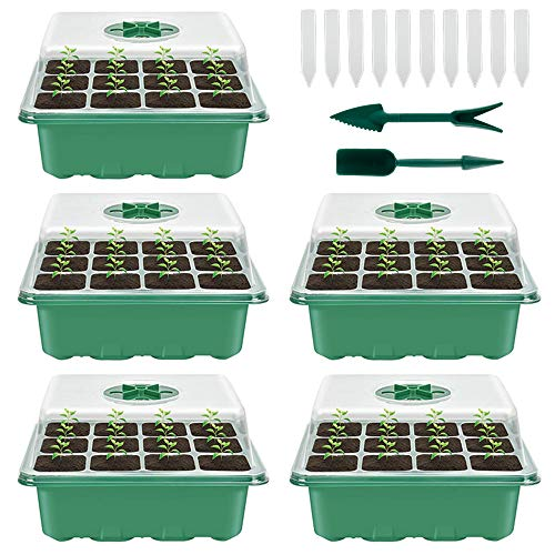 Your\'s Bath 5 Stücke Zimmergewächshaus Anzuchtkasten,Mini Gewächshaus Anzucht Set,Kunststoff Anzuchtschalen mit Gartengeräte Klein und Pflanzenetikett,12 Löchern, Ideal für Sämling Pflanze Aufzucht
