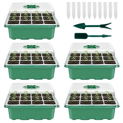 78Henstridge 5 Stücke Zimmergewächshaus Anzuchtkasten,Mini Gewächshaus Anzucht Set,Kunststoff Anzuchtschalen mit Gartengeräte Klein und Pflanzenetikett,12 Löchern, Ideal für Sämling Pflanze Aufzucht