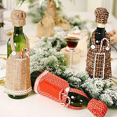3 StüCk Weihnachten Weinflasche Abdeckung Taschen,Tischdeko Rotwein Champagner Wein Kleidung,Geschenktasche Wein Weihnachten Filz