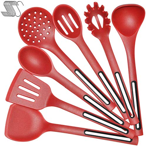 Silicone Cooking Spoon Kitchen Utensil Set - IELECMG Cooking Utensils Dishwasher Safe 500℉ Heat Resistant Large Spatulas Turner Spoons Soup Ladle Skimmer Kitchen Tools for Nonstick Cookware (Red)
