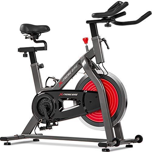Indoor Cycling Bike, Spin Bike with13 kg Flywheel, Exercise Bike for Home Workout | LCD Display |Phone&Bottle Holder | Pulse Sensors | 4-Way Adjustable Handlebars&Seat | Infinite Resistance| (red)