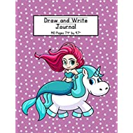 Mermaid and Unicorn Draw and Write Journal: Composition Book for Kids With Primary Lines and Half Blank Space for Drawing Pictures - 140 Pages