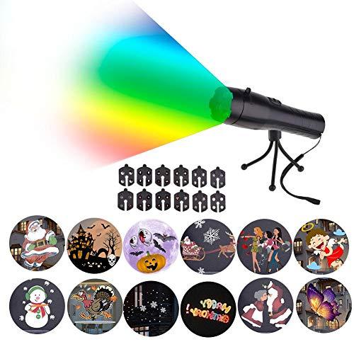 Brillie Proyector Linterna De Mano Decoración Navideña Luces De Proyector con 12 Diapositivas De Patrón para Lámpara De Linterna Portátil Recargable con Trípode
