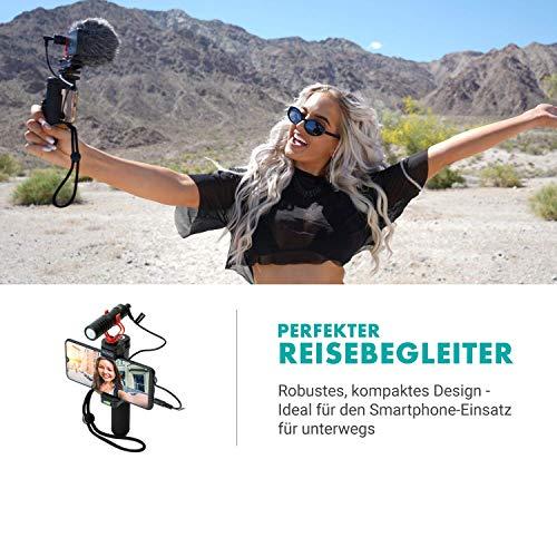 Movo VXR10 Universal Video-Mikrofon für Smartphones und Kameras mit Halterung, Windschutz, Tasche, kompatibel mit iPhone, Android, Canon, EOS, Nikon