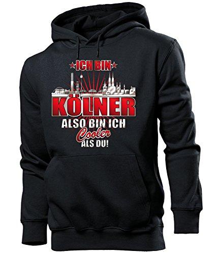love-all-my-shirts Ich Bin Kölner Also Bin ich Cooler als du 4618 Fussball Fanhoodie Männer Herren Hoodie Pulli Kapuzen Pullover Fanartikel Schwarz XL