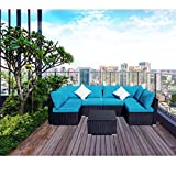 7 Pcs Outdoor Patio Furniture Sets Blue, Rattan Sofa with Cushions and Clips, PE