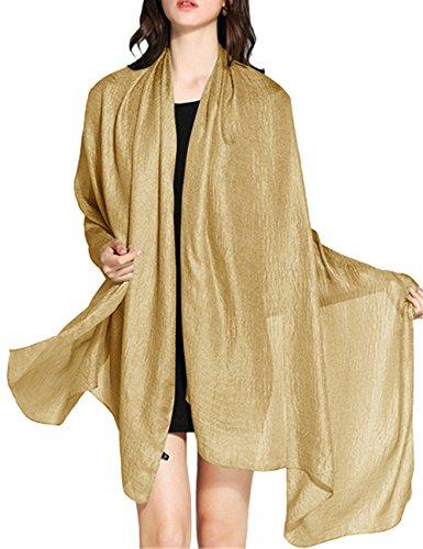 WedTrend Damen Festlich Stola Sommer Schal Sonnenschutz Bolero für Hochzeit Abendkleid Sandstrand Champagner-gold WTC30002 Gold