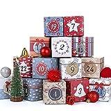 LIHAO Boîtes Calendrier de l'avent à Remplir 24 Sacs de Papier Kraft pour Cadeau Noël - 7 x 7 x 7 cm