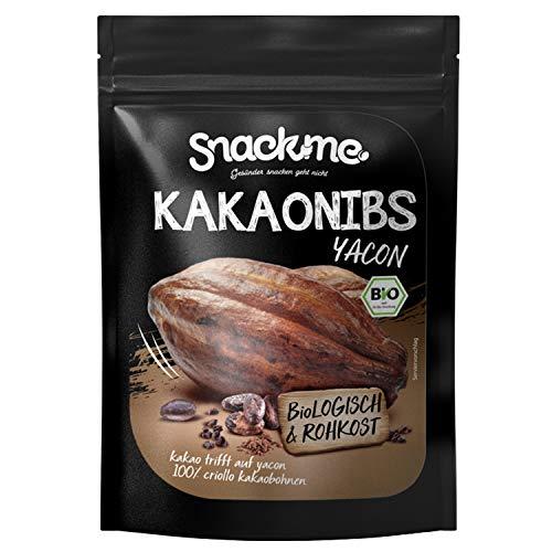 Bio Fairtrade Kakao-Nibs Cacao-Nibs Criollo mit Yacon Sirup ohne Zucker & Zusätze 500g Peru 100% Rohkost-Qualität nicht bitter ungeröstet unbehandelt vegan raw organic