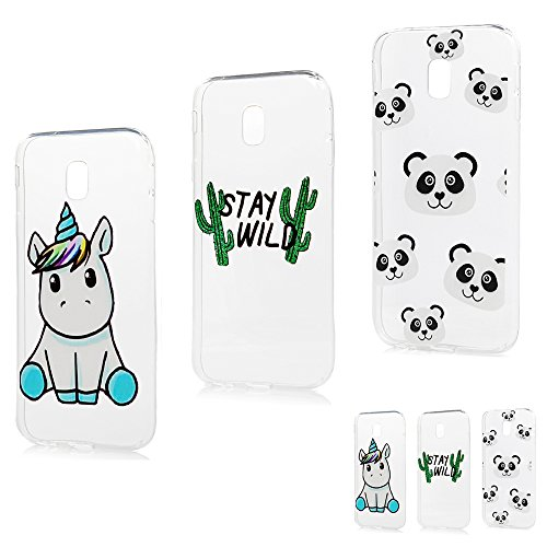 Coque pour Samsung Galaxy J3 2017 Silicone Housse Etui Protection Mince Souple Gel Case Cover TPU Original Motif Coques pour Apple Samsung Galaxy J3 2017-MAXFE.CO-Cactus+Licorne Bleue+Panda