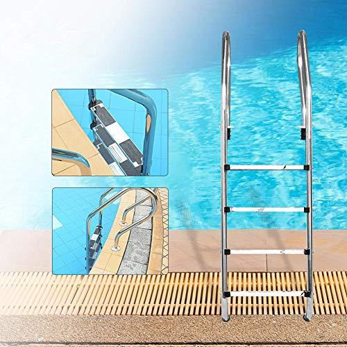 Luckyshuai Piscina Escalera mecánica Piscina Piscina Acero Inoxidable Escalera de reemplazo Paso Piscina Paso Paso Submarino Paso Escalera (Color : Silver)