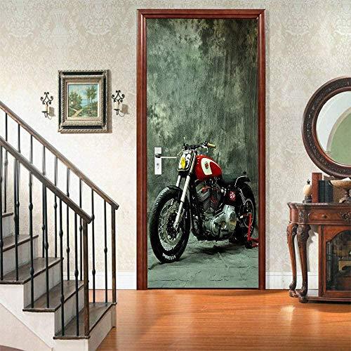 Bdhnmx Selbstklebende 3D -Tür-Wandbilder Peel and Stick-Dekoraufkleber Umweltfreundliches Motorrad Hintergrundbild Abnehmbares Kunstplakat 30.3X78.7 (77X200Cm)