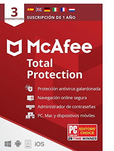 McAfee Total Protection 2021, 3 Dispositivos, 1 Año, Software Antivirus, Seguridad de Internet, Móvil,Manager de Contraseñas, Compatible con PC/Mac/Android/iOS,...