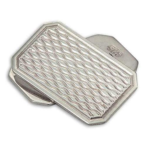 Boutons de Manchette Rectangulaires Ondulés en Argent 925/1000 - A Chaînette