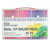 100 PCS Color Brush Marker Pens Pluma de pincel de doble punta de color 0.4 Fineliner Point Art Markers Set Drawing Manga Stationery Supplies