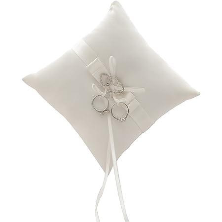 """Awtlife - Cuscinetto per fedi nuziali, con 2 cuori in strass, avorio, 17,8 cm (7"""")"""
