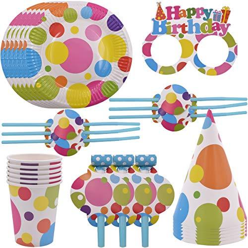 WENTS Party Set bunt Muster Party Set für Geburtstag Kindergeburtstag Mottoparty, Tischdeko Partygeschirr Set für 6 Personen